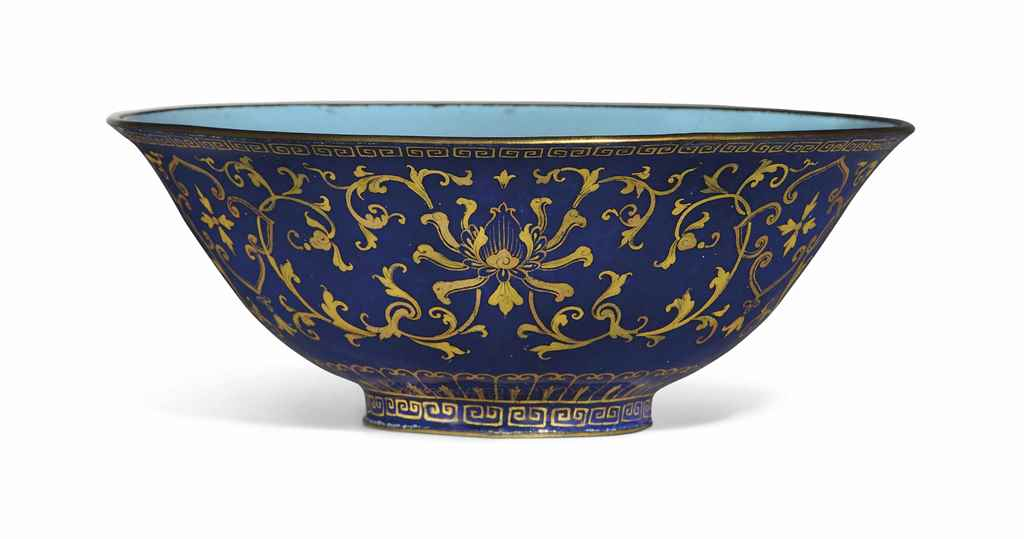A GILT-DECORATED BLUE-GROUND P