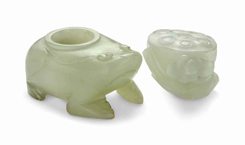 A WHITE JADE LOTUS CARVING AND