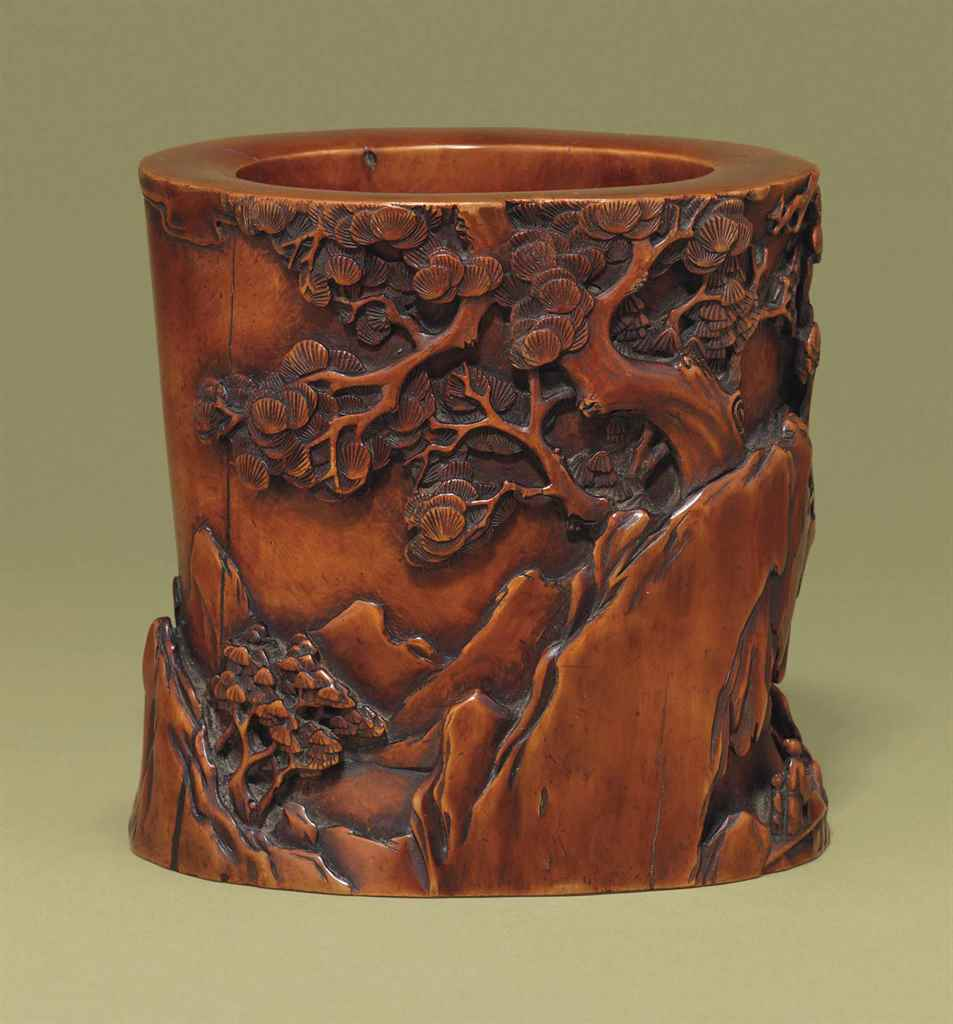 A BOXWOOD CARVED BRUSHPOT