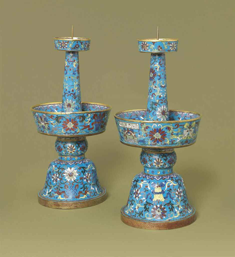 A PAIR OF CLOISONNÉ ENAMEL CAN