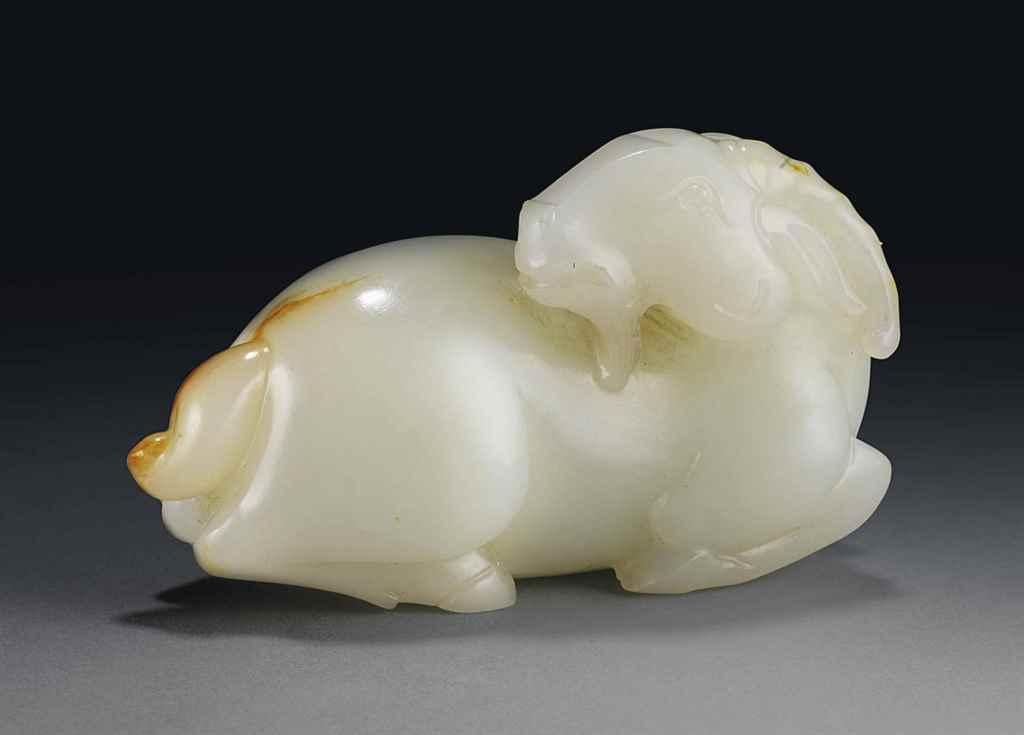 A WHITE JADE RAM