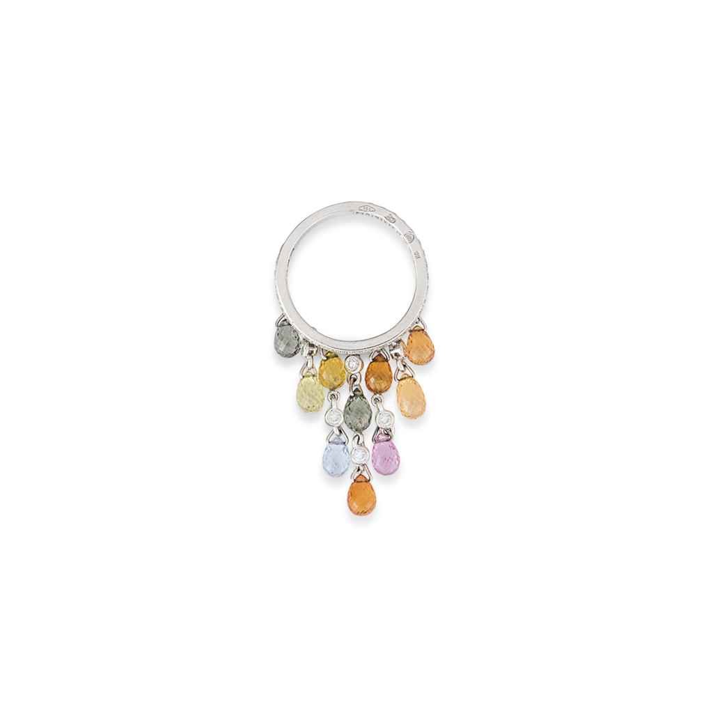 A DIAMOND AND PINK GEM RING, B