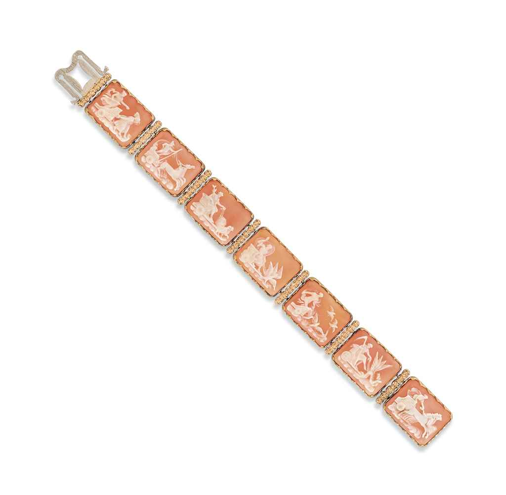 A SHELL CAMEO BRACELET, BY BUC