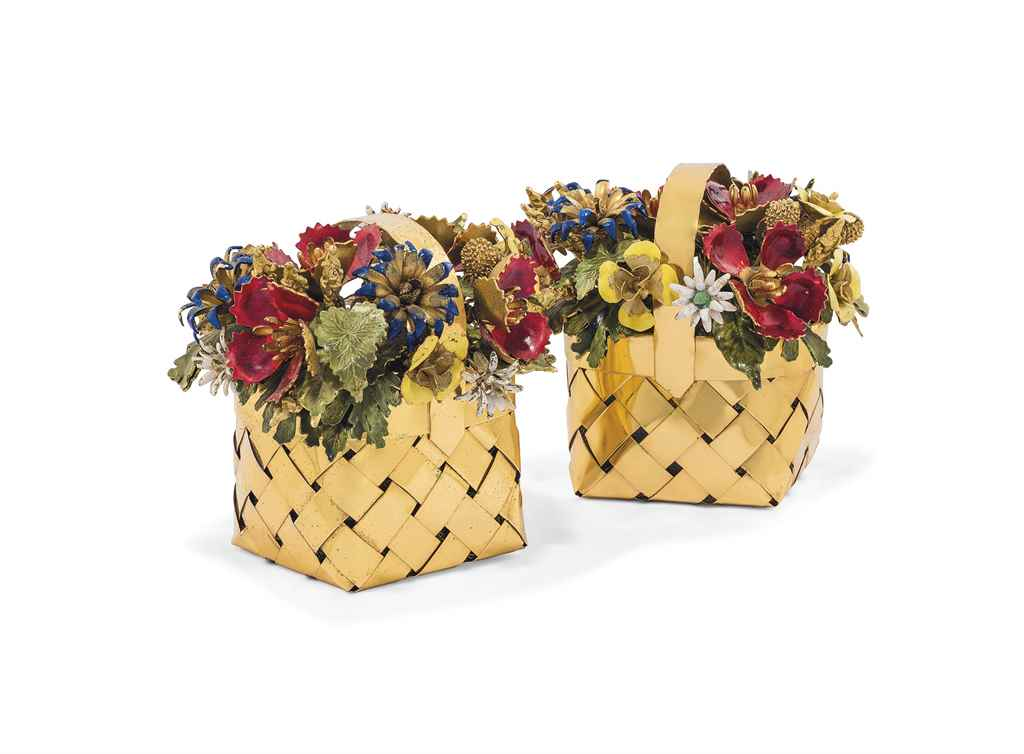 TWO GILT AND ENAMEL BASKETS OF