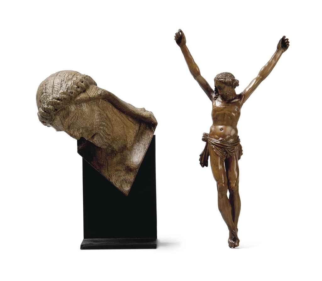 AN OAK HEAD OF CHRIST