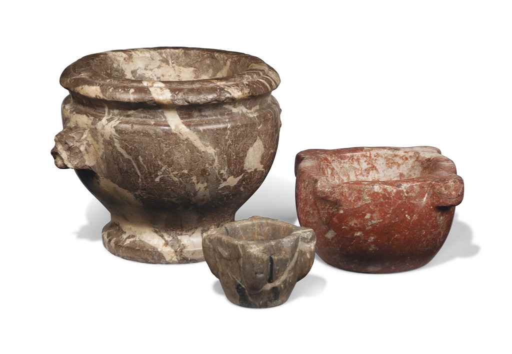 THREE MARBLE MORTARS