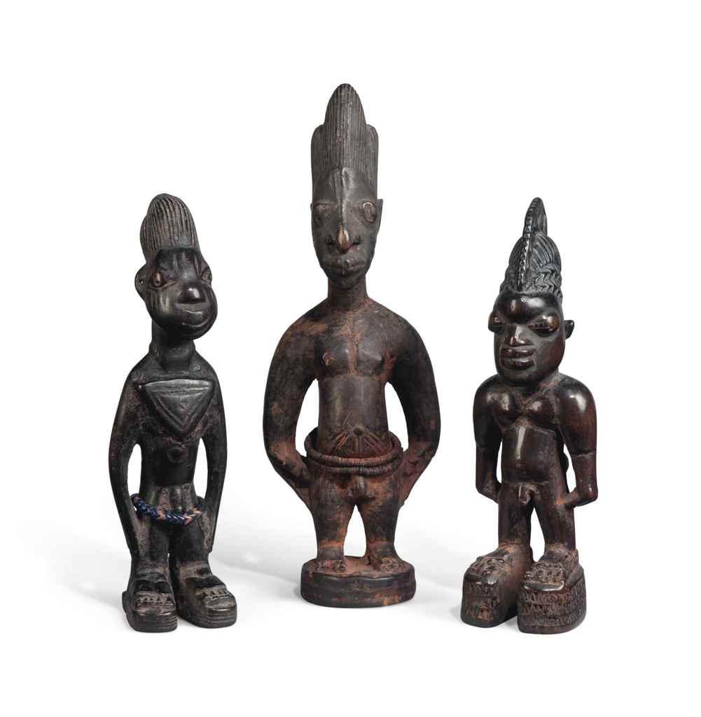 A GROUP OF THREE MALE IBEJI
