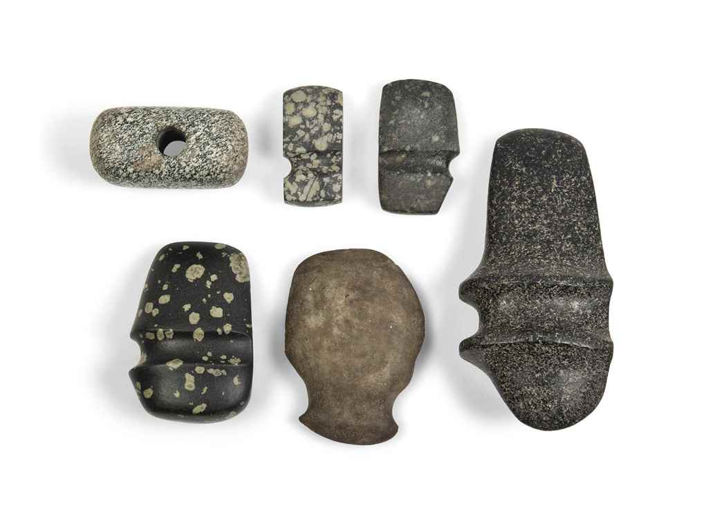 SIX NEOLITHIC STONE HAMMERS