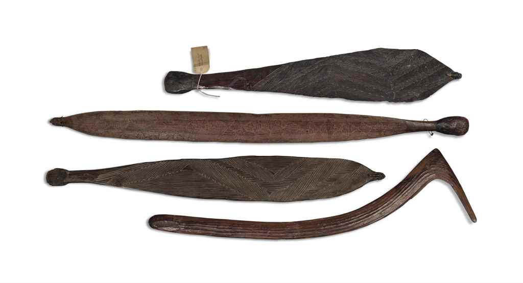 THREE ABORIGINE GUMWOOD SPEAR-