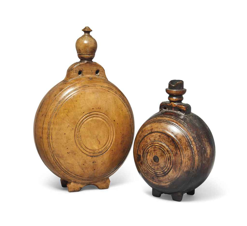 TWO SYCAMORE PILGRIM FLASKS