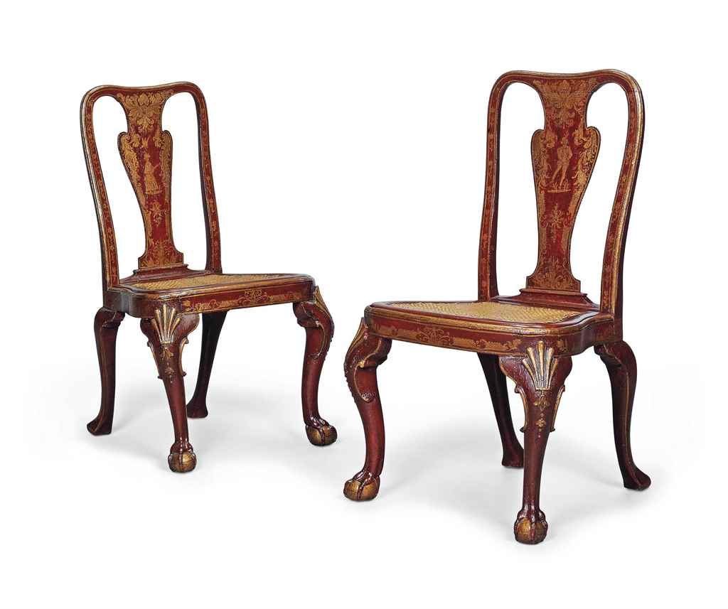 A PAIR OF GEORGE I RED-JAPANNE
