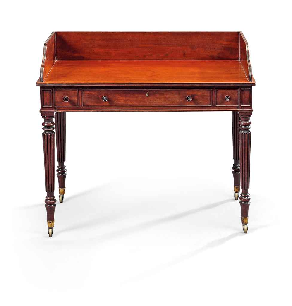 A REGENCY MAHOGANY WRITING-TAB