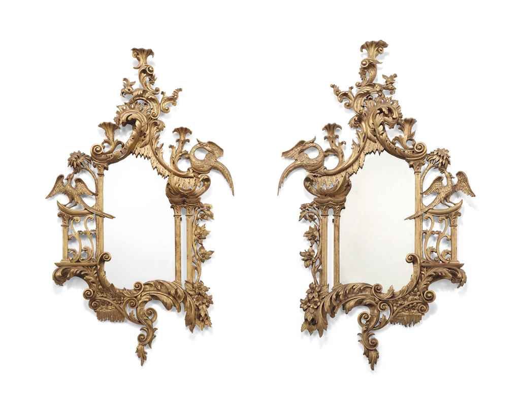 A PAIR OF ENGLISH GILTWOOD MIR