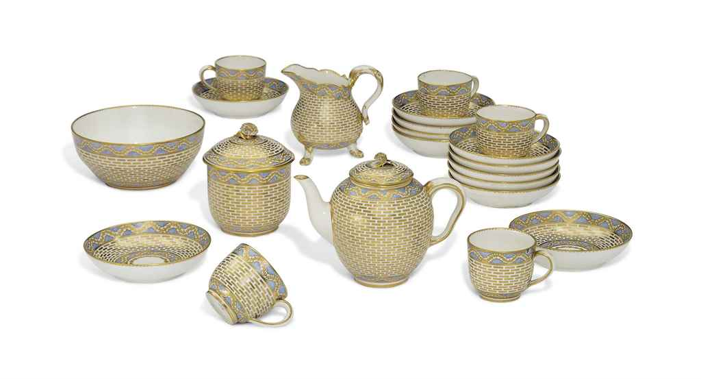 A SEVRES GILT PART TEA-SERVICE