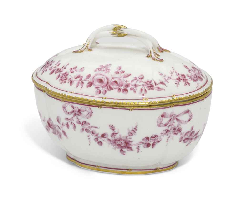A SEVRES OVAL SUGAR-BOWL AND C