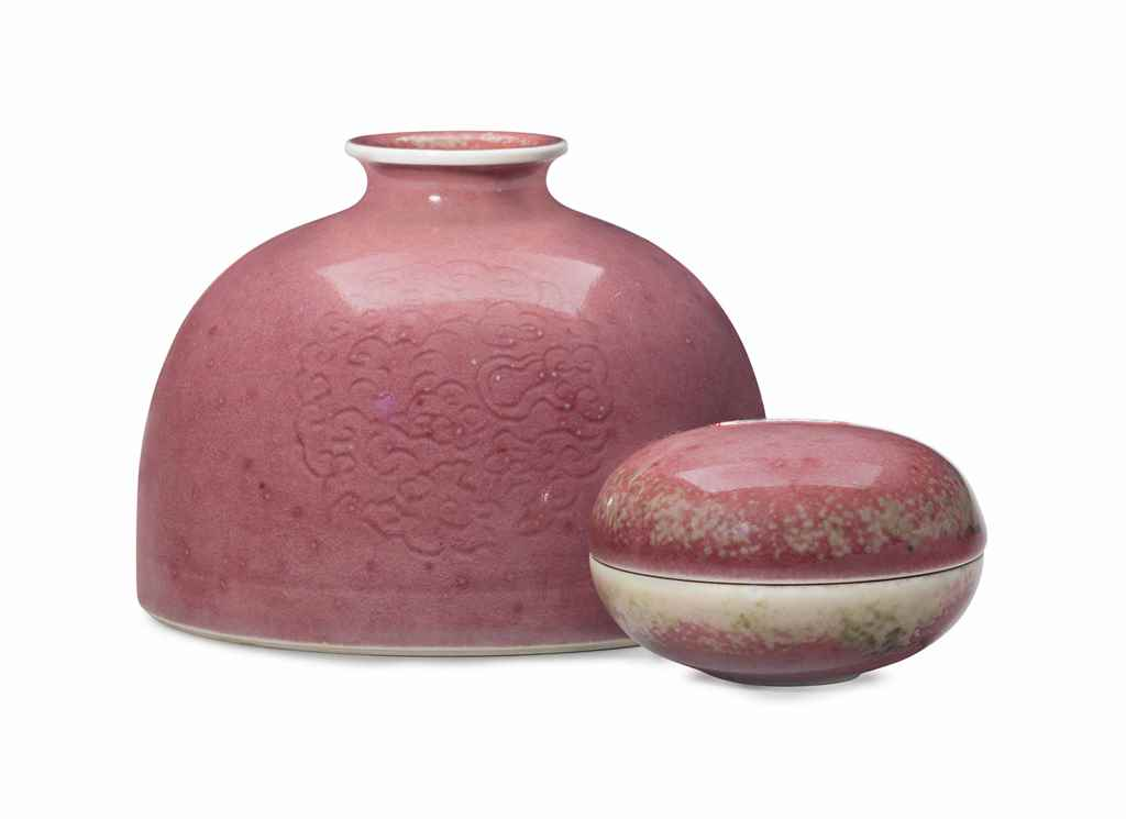 A chinese peachbloom glazed water pot and seal paste