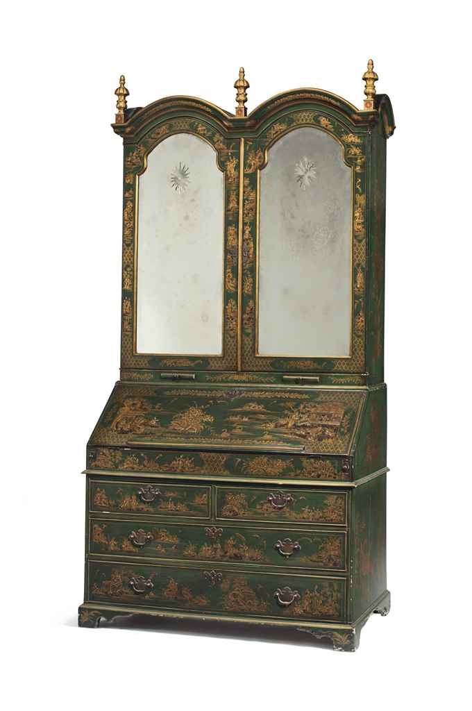 a george i style green and gilt japanned bureau cabinet late 19th 20th century christie 39 s. Black Bedroom Furniture Sets. Home Design Ideas