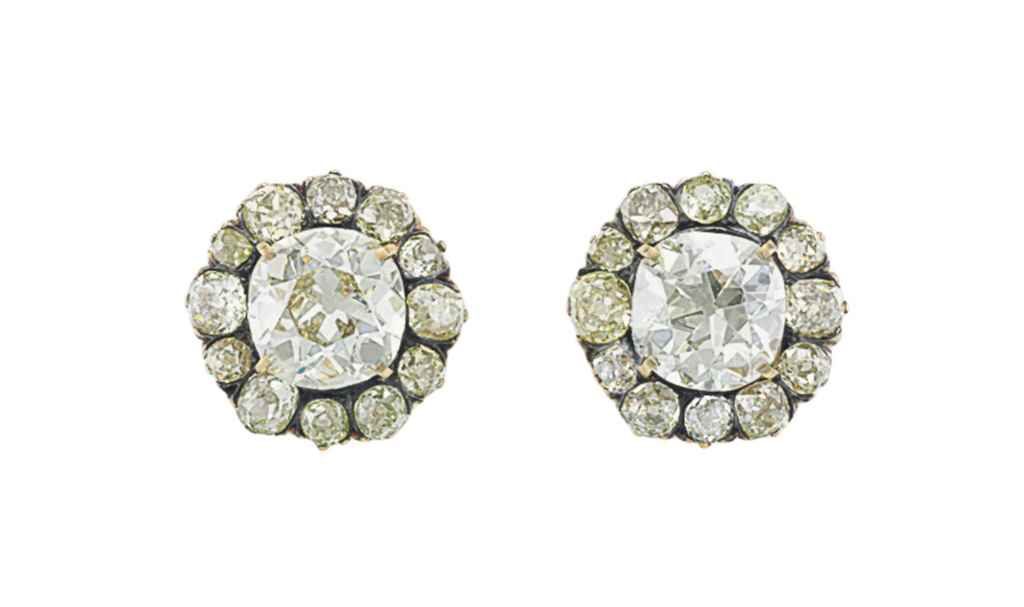 A PAIR OF DIAMOND EAR STUDS