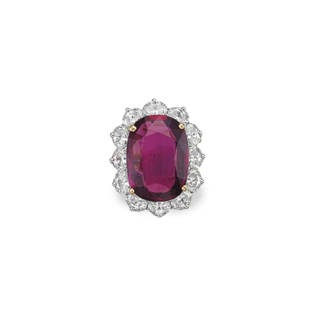 A RUBY AND DIAMOND RING, BY OS