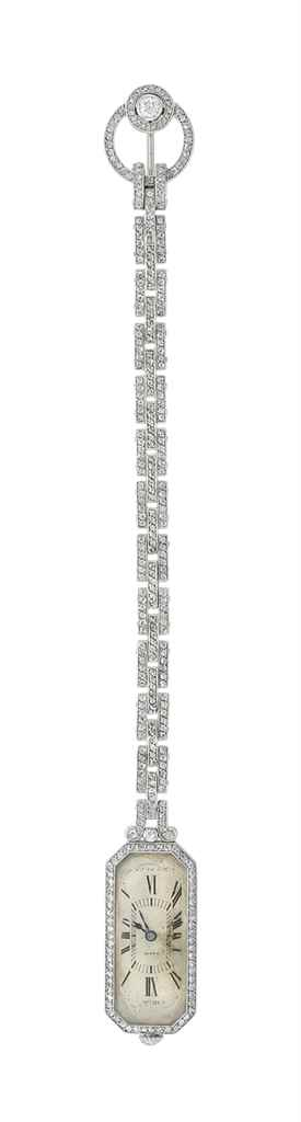 AN ART DECO DIAMOND LAPEL WATC