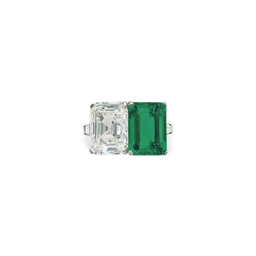 A DIAMOND AND EMERALD TWO-STON