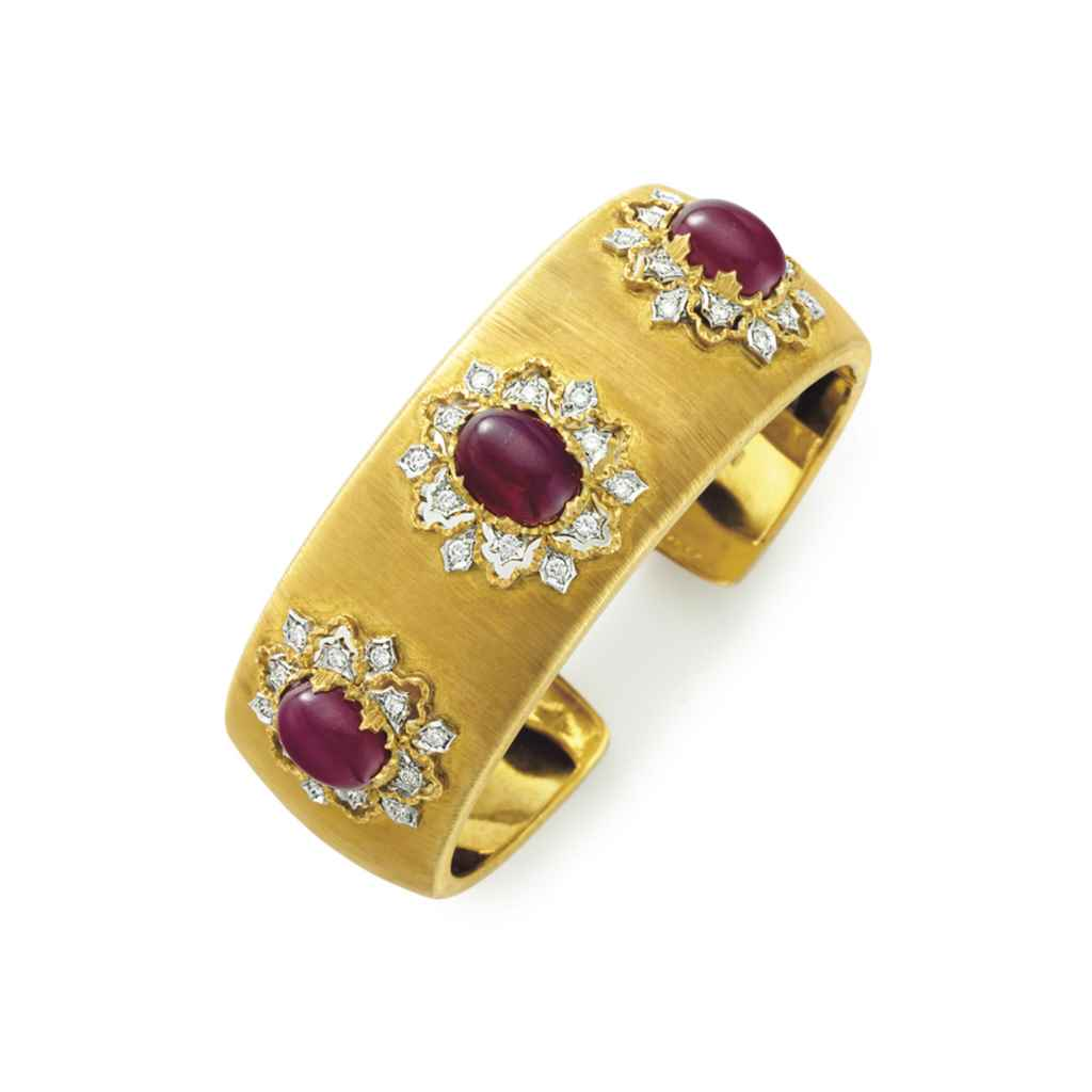 A DIAMOND, RUBY AND GOLD CUFF