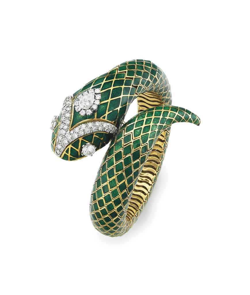 AN ENAMEL AND DIAMOND SERPENT