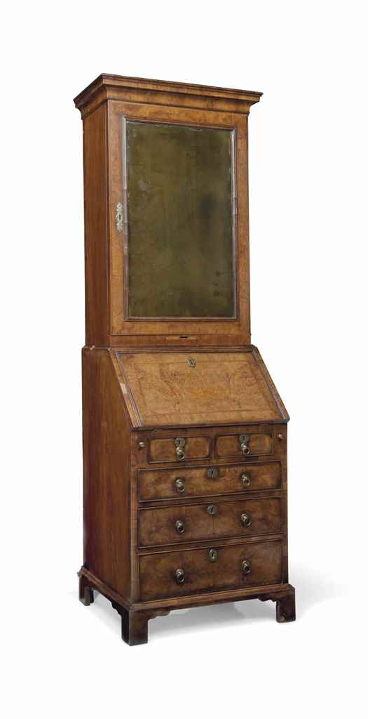 A narrow proportioned walnut and burr walnut bureau for Kitchen cabinets 50cm wide