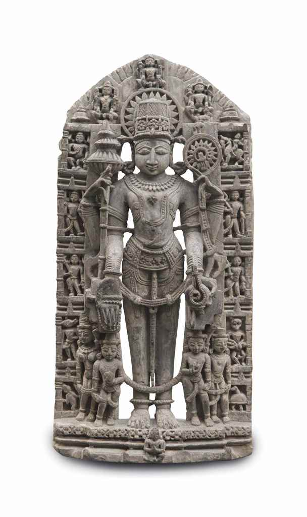 A grey stone figure of Vishnu