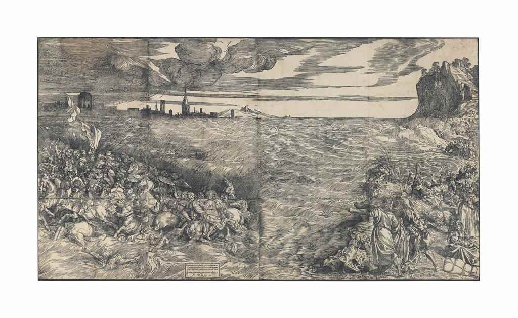 AFTER TIZIANO VECELLIO, CALLED TITIAN (CIRCA1488-1576), The Submersion of Pharaoh's Army in the Red Seathe complete woodcut printed from 12 blocks, circa 1514-15. Estimate: $200,000-300,000.