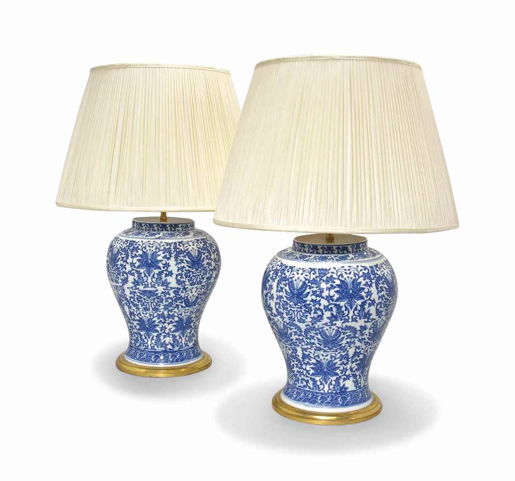 A pair of blue and white kangxi type table lamps late Types of table lamps