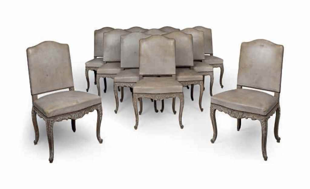 A set of twelve french limed oak and studded leather for Studded dining room chairs