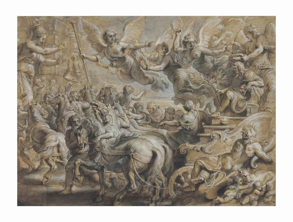 PETER PAUL RUBENS (Siegen 1577-1640 Antwerp),Scipio Africanus welcomed outside the gates of Rome, after Giulio Romano, black chalk, pen and ink, brown wash, grey, cream, white and touches of green bodycolor with heightening in oil. Estimate: $500,000-700,000.
