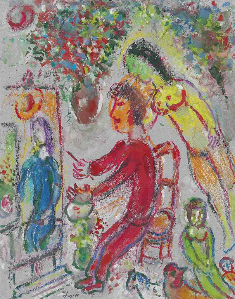 Marc chagall 1887 1985 le peintre en rouge christie 39 s for Chagall peintre