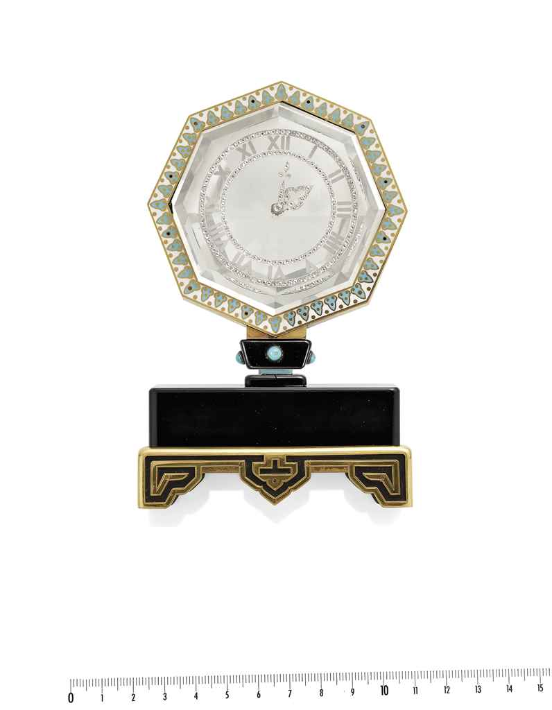 pendule myst rieuse art d co cristal de roche mail onyx turquoises et diamants par cartier. Black Bedroom Furniture Sets. Home Design Ideas