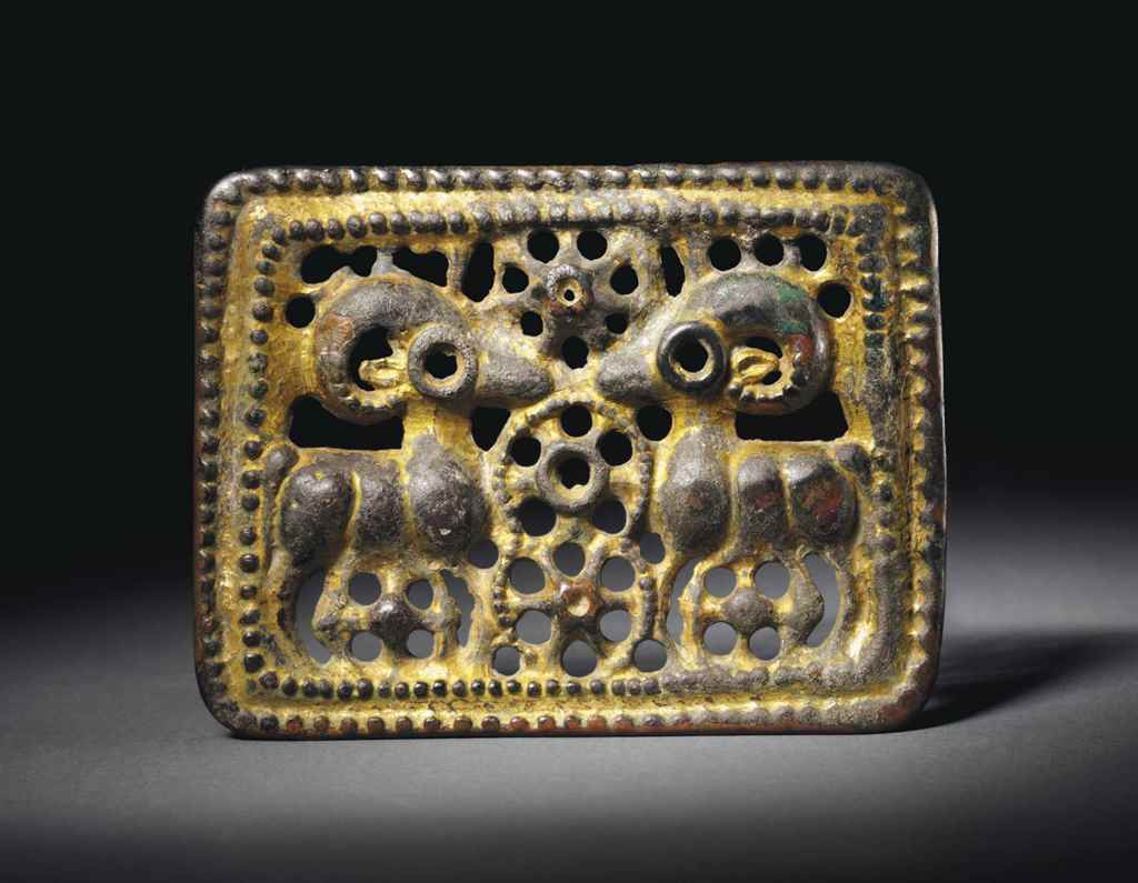 A GILT-BRONZE OPENWORK RECTANG