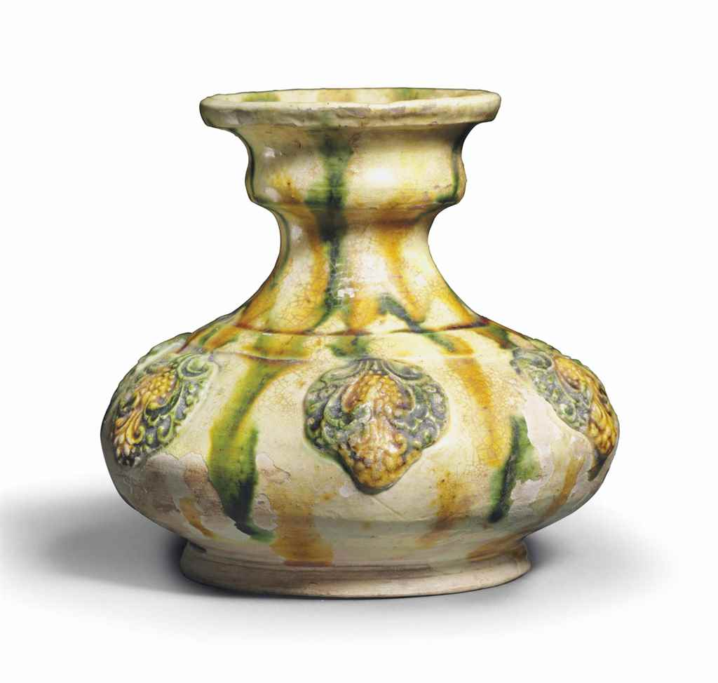 AN UNUSUAL SANCAI-GLAZED POTTE