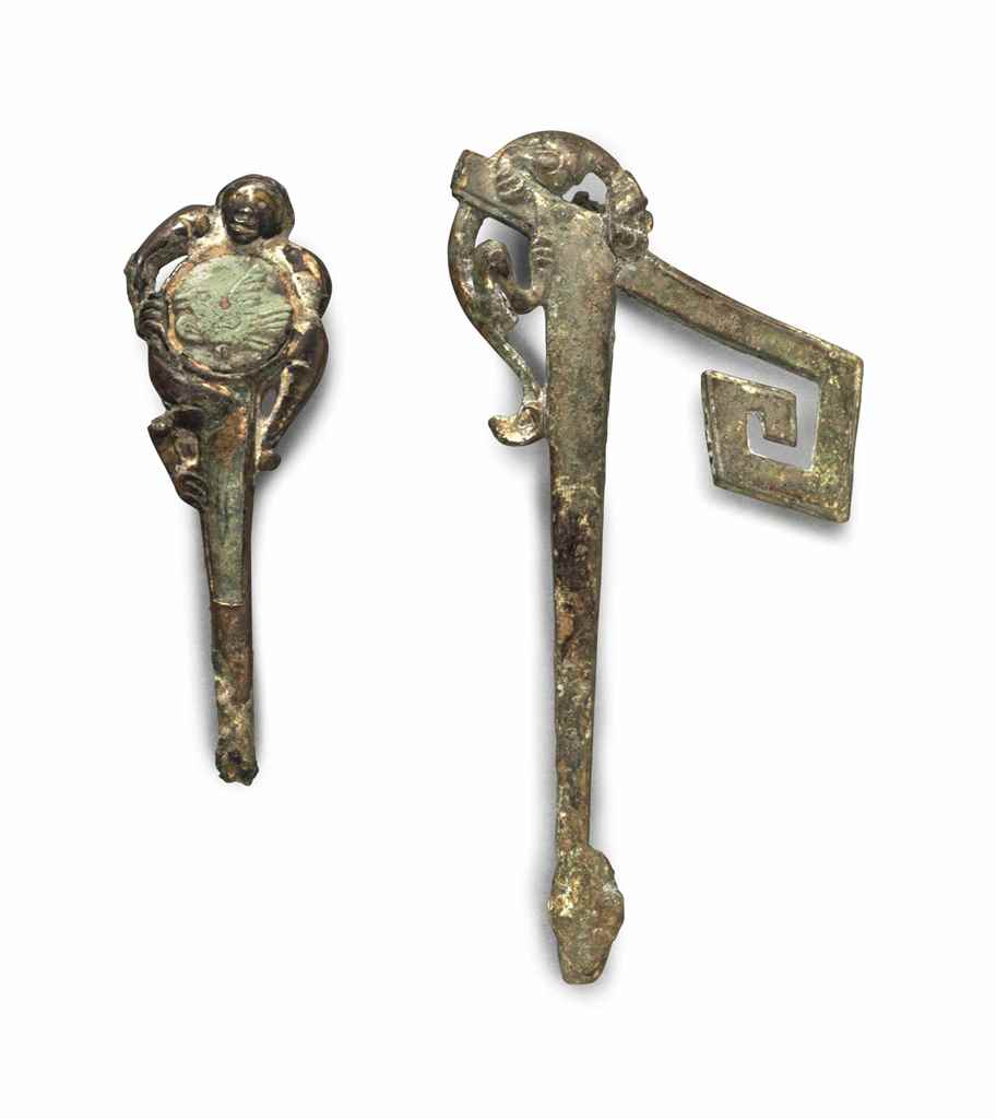 TWO GILT-BRONZE GARMENT HOOKS