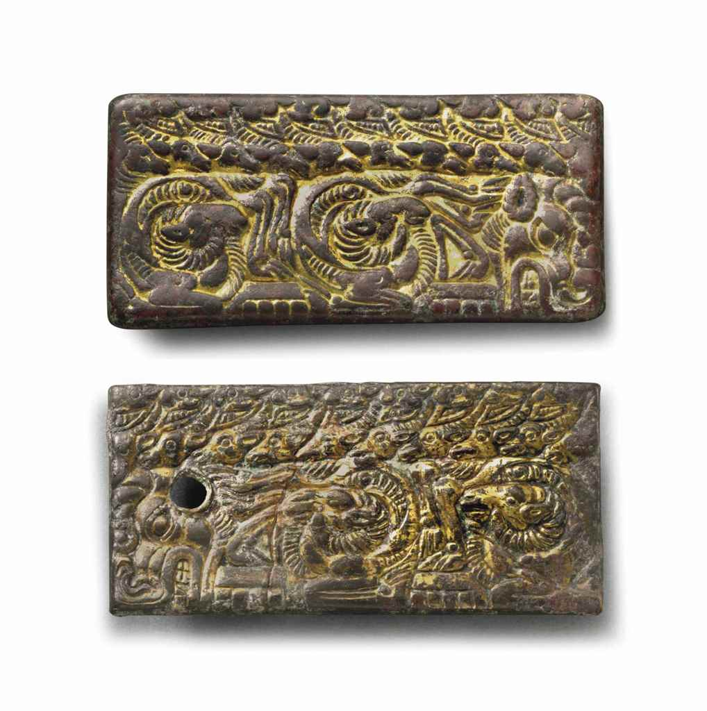 TWO GILT-BRONZE RECTANGULAR BE