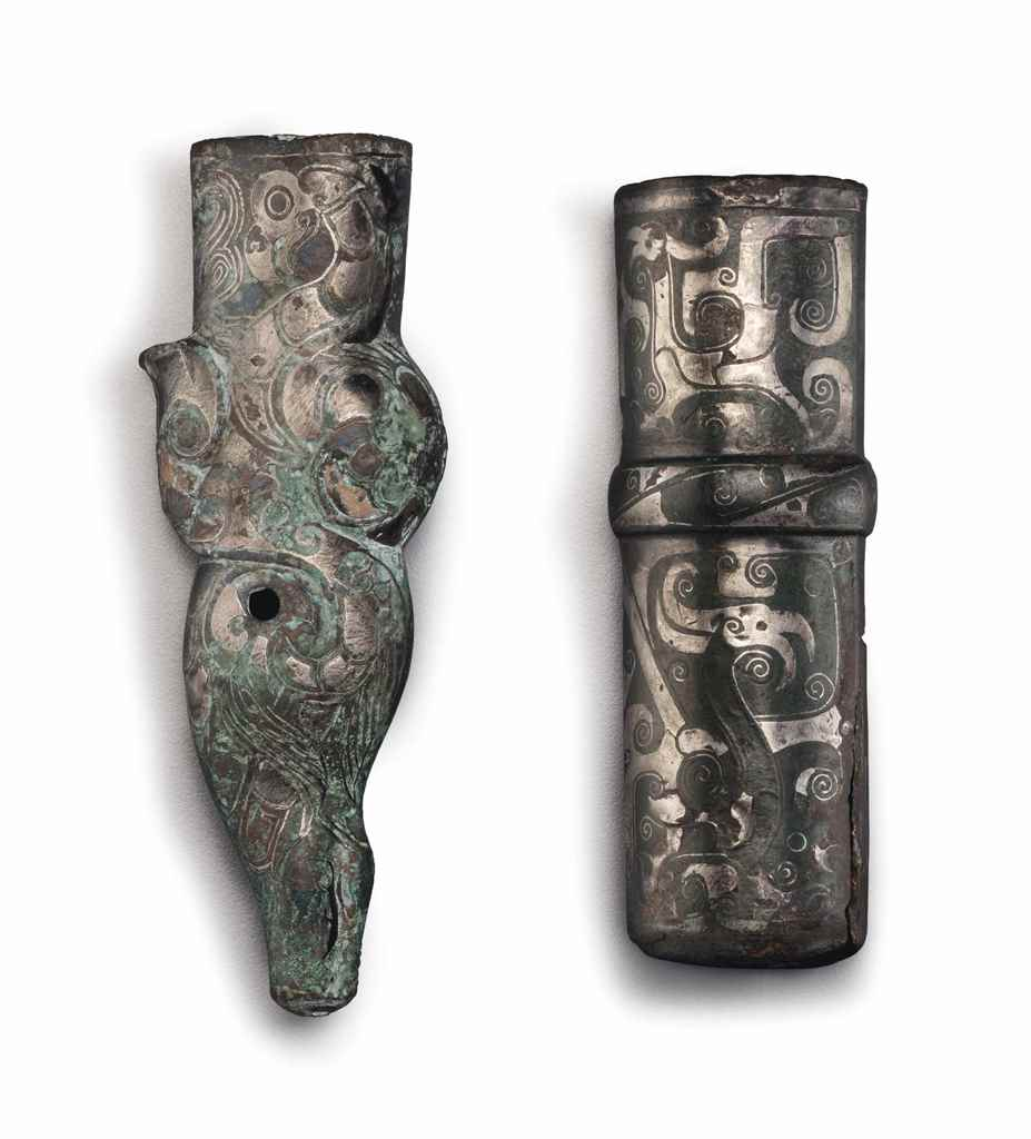 TWO SILVER-INLAID BRONZE FITTI