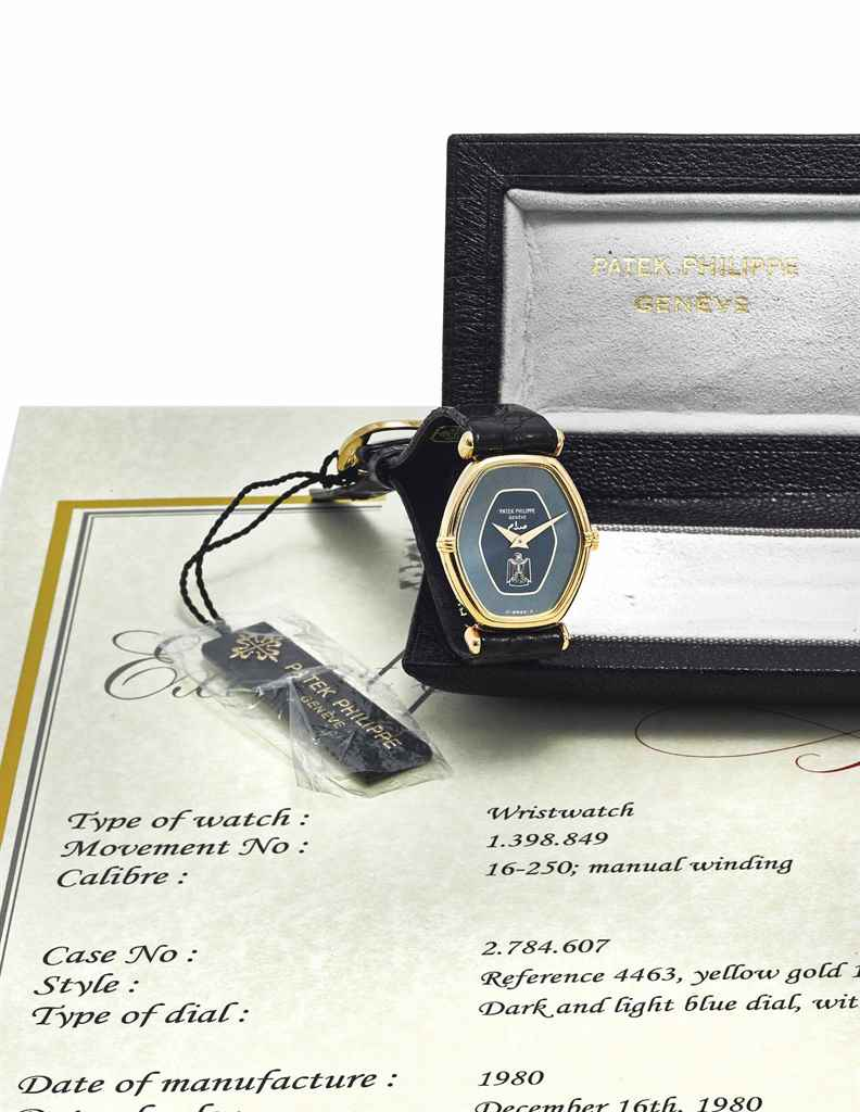 PATEK PHILIPPE A RARE 18K GOLD WRISTWATCH WITH IRQAI COAT OF...
