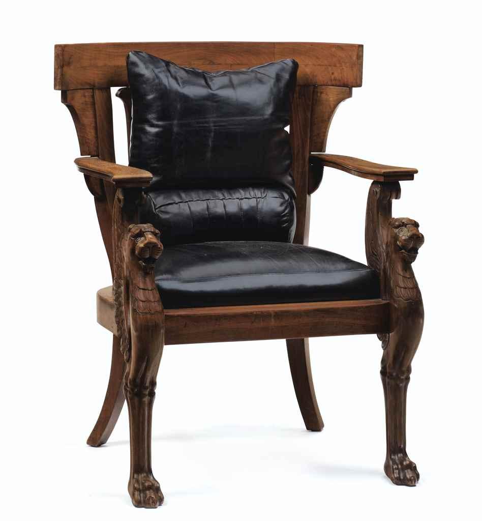A north european solid mahogany fauteuil de bureau after - Fauteuil de bureau solide ...