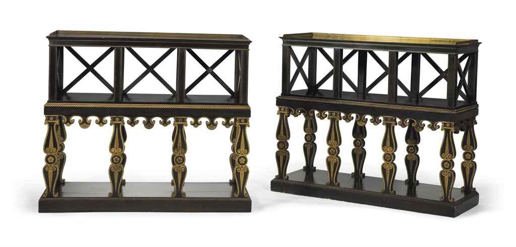 paire de bibliotheques en partie d 39 epoque restauration. Black Bedroom Furniture Sets. Home Design Ideas