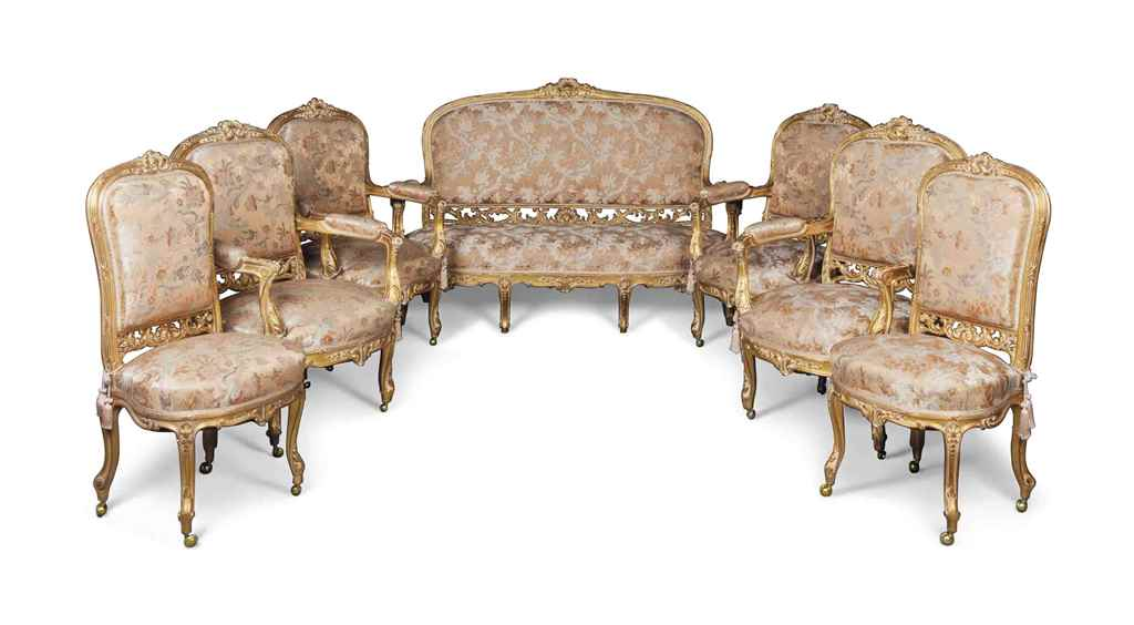 A french giltwood seven piece salon suite of louis xv for 212 salon st louis