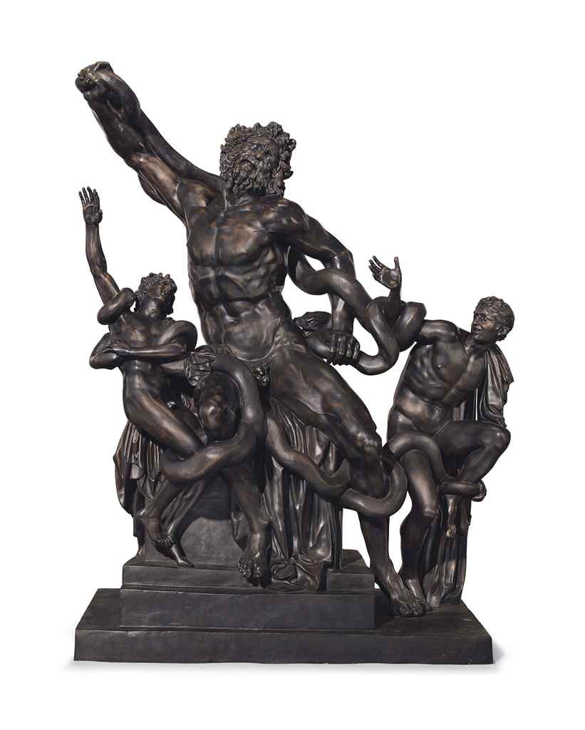 AN ITALIAN OVER-LIFESIZE BRONZE GROUP OF LAOCOON AND HIS ...
