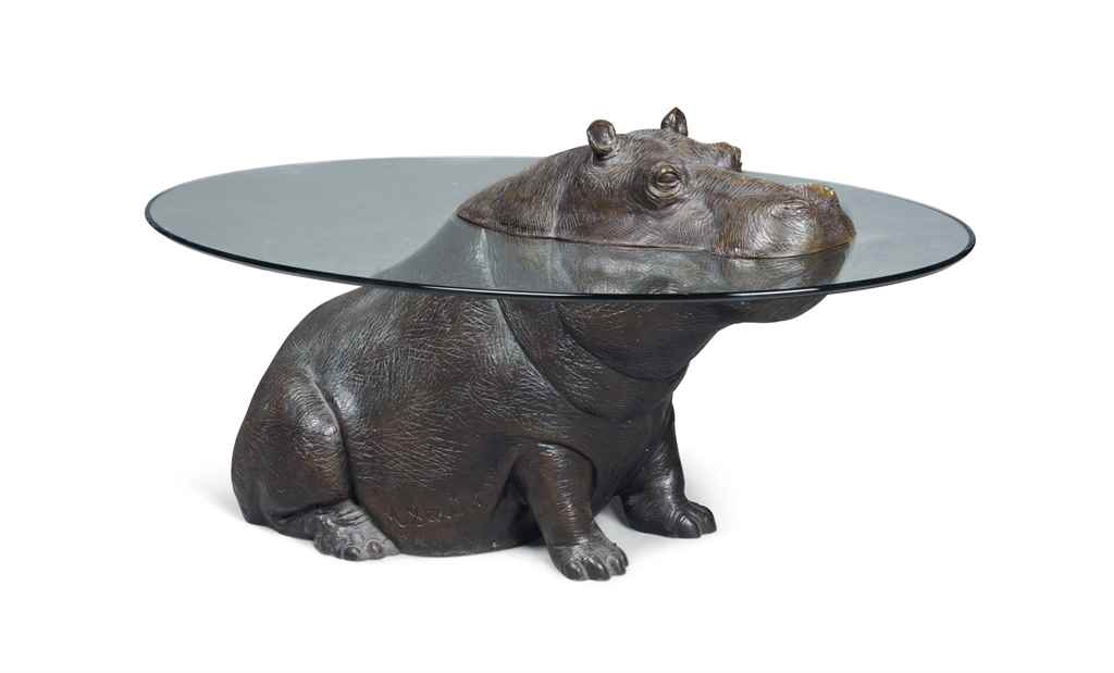 A mark stoddart 39 cheeky hippo 39 patinated bronze and glass for Hippo table for sale