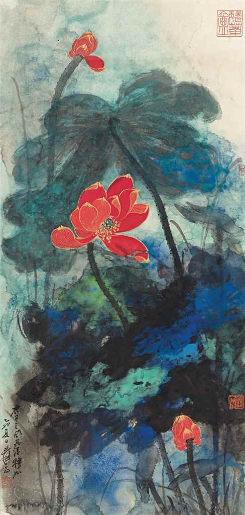 Zhang Daqian (1899-1983), Red Lotus. Scroll, mounted on cardboard and framed, ink and colour on paper. 120 x 56.8 cm (47¼ x 22⅜ in). Dated 1975. Estimate HK$4,000,000-6,000,000  US$520,000-780,000. This lot is offered in Fine Chinese Modern Paintings on 30 May 2017 at Christie's in Hong Kong