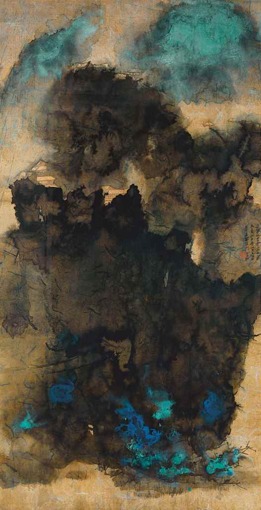 Zhang Daqian (1899-1983), Ancient Temples Amidst Clouds. Scroll, mounted and framed, ink and colour on gold paper. 172 x 89.5 cm (67¾ x 35¼ in). Dated 1965. Estimate on request. This lot is offered in Resplendent and Glorious — Ancient Temples Amidst Clouds previously from the Mei Yun Tang Collection on 30 May 2017 at Christie's in Hong Kong