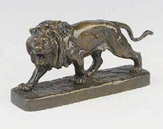 A French bronze prowling lion,