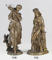 A French bronze patinated spel